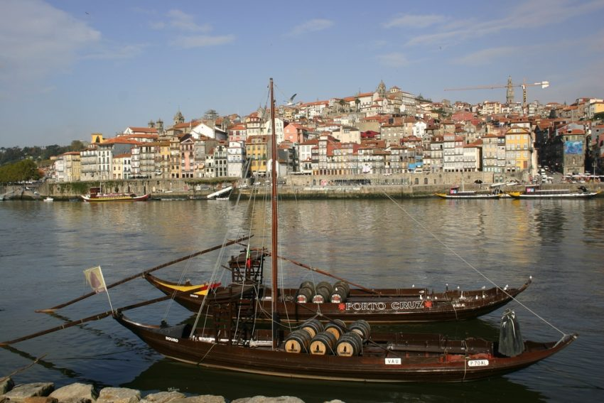Rabelo boats on the River Douro with Porto in the background