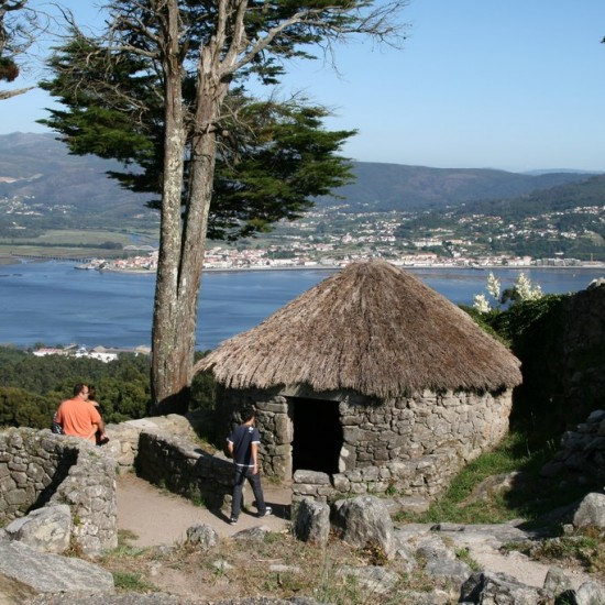 Reconstructed circular dwelling, Santa Tegra Celtic settlement, Galicia, Spain