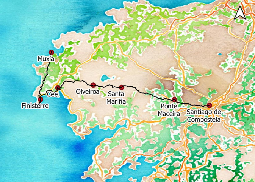 Walk the Santiago to Finisterre Way map