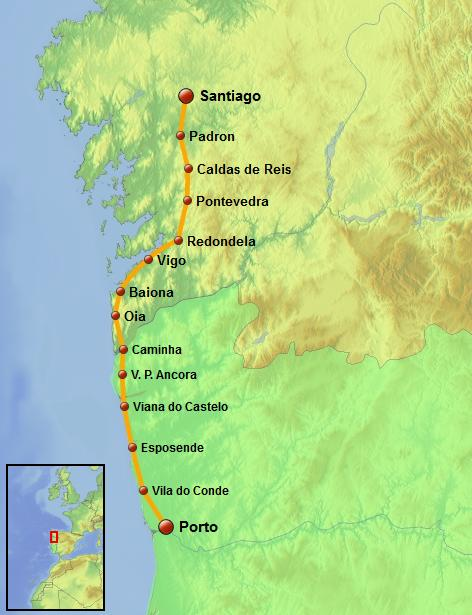 el camino de santiago walk map
